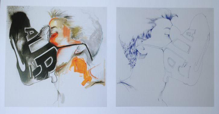 Javi Moreno. Janus, 2008. Técnica mixta sobre papel. 51 x 102 cm. Cortesía del artista.