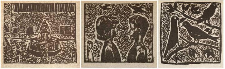 Tres grabados de Linoleografía, de Rafael Pérez Contel.