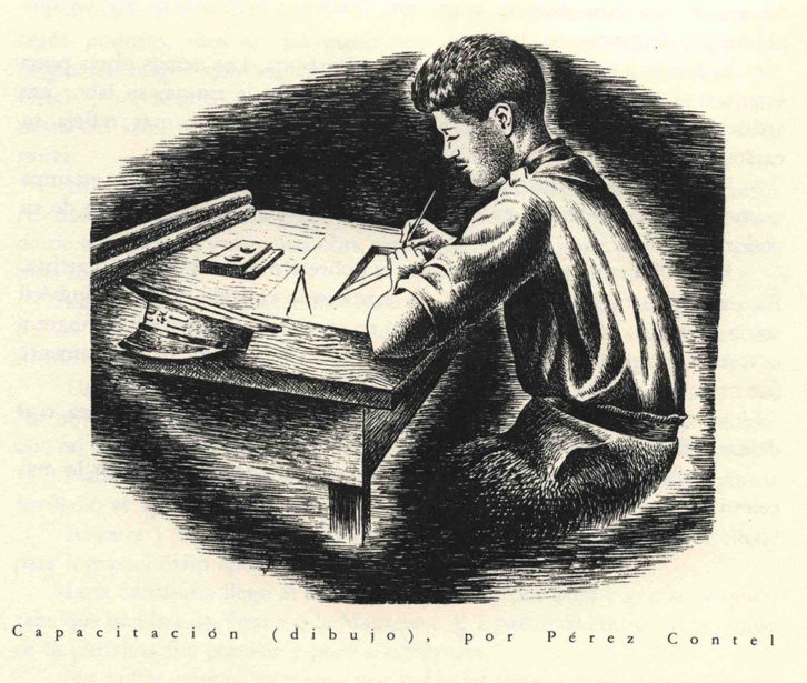 Ilustración de Rafael Pérez Contel, con motivo de su capacitación en 1933.