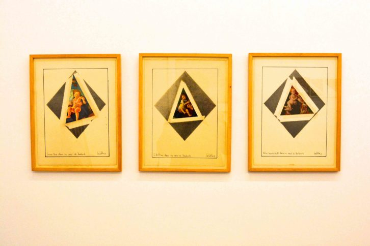 "Imagen perteneciente al tríptico de collages ""Giovanni Bellini, Cosimo Tura and Kolner Master dans le carré de Malevitch"" (1981)."