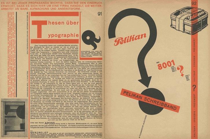 Kurt Schwitter, Merz nº11, 1924. Publicidad tipográfica: número de Pelikan; Tipografía sobre papel (Archivo Lafuente)