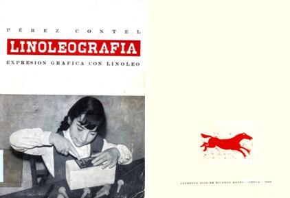 Portada y contraportada de Linoleografía, de Rafael Pérez Contel.