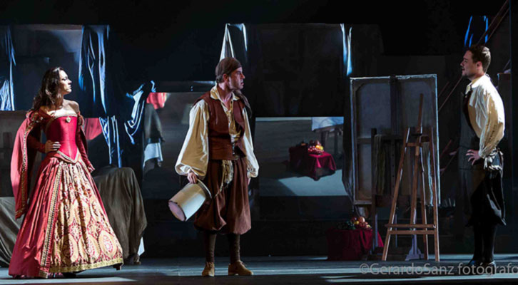 Escena de 'La puta enamorada', de Chema Cardeña, bajo dirección de Jesús Castejón. Imagen cortesía de Sala Russafa.