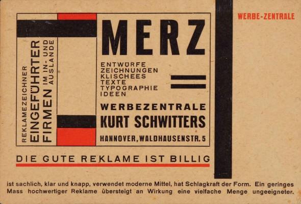 Kurt Schwitters. Tarjeta postal para Merz Werbezentrale (Agencia publicitaria Merz), tipografía sobre cartulina (Colección Merril C.Berman)