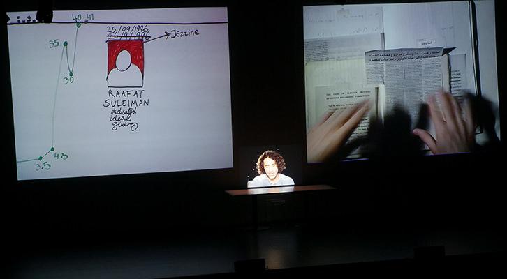 Un momento de la intervención de Rabih Mroué. Fotografía: Eva Zubero.