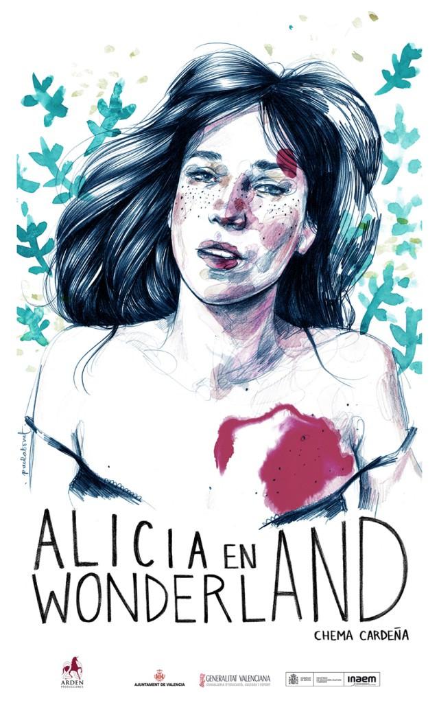 Cartel de Alicia en Wonderland, espectáculo dirigido por Chema Cardeña. Ilustración de Paula Bonet. Imagen cortesía de Sala Russafa.