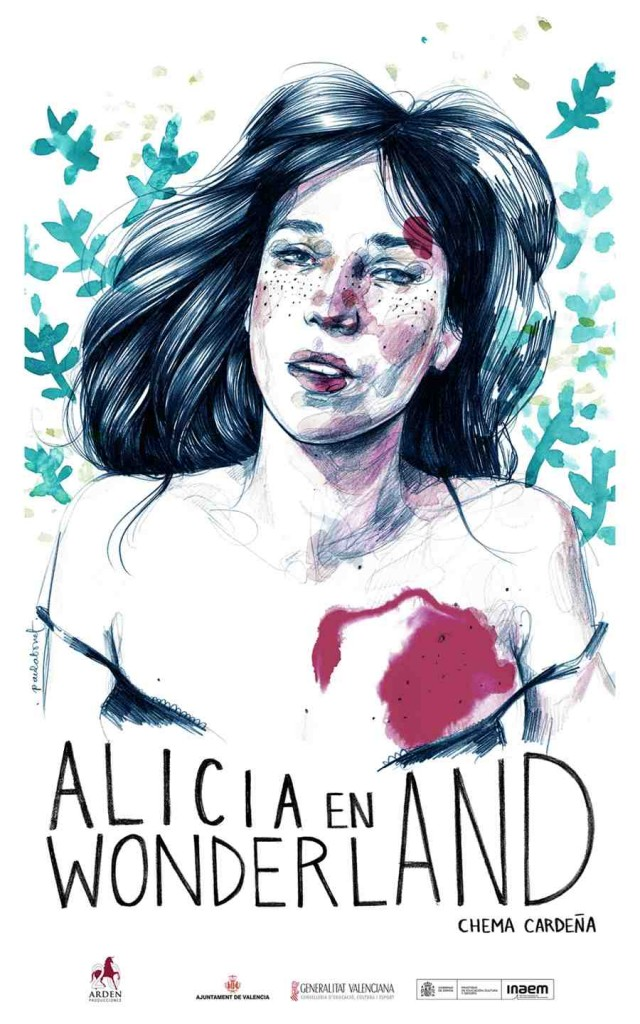 Cartel de 'Alicia en Wonderland', obra de Paula Bonet. Sala Russafa