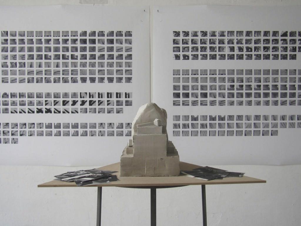 Exercici de ritme, 2014 Escultura de hormigón sobre base de madera y  estructura de acero. 35 cm. Imagen cortesía Galería Joan Prats