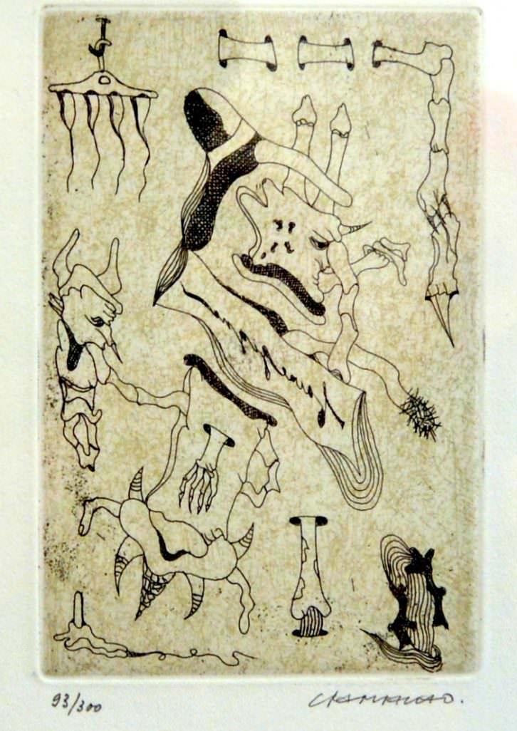 'Faire signe au machiniste', grabado original de Jorge Camacho.