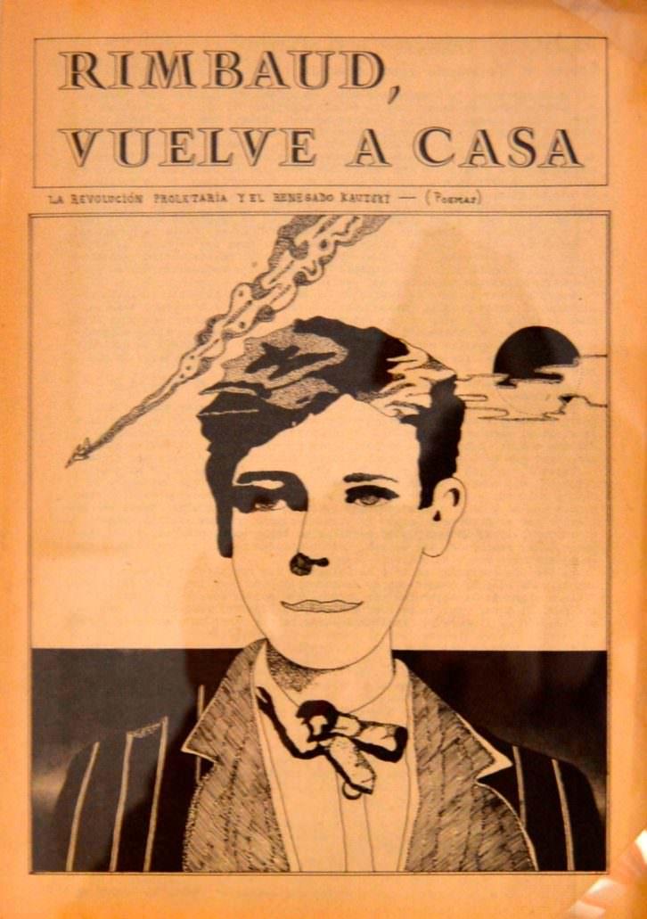 Ejemplar de 'RIMBAUD, VUELVE A CASA', presente en la exposición.