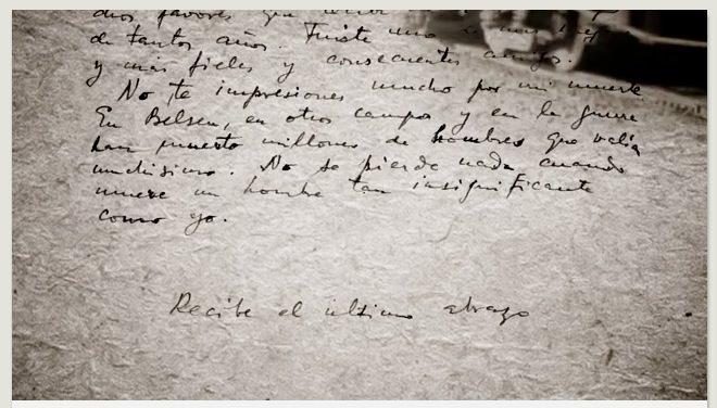 Una de las cartas que da pie a 'El último abrazo', de Sergi Pitarch, película nominada a los Goya como Mejor Cortometraje Documental.