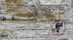 Gerard, Pensament penjat d-¦un fil - te¦ücnica mixta sobre arpillera - 60x80 cm - 2014 - copia