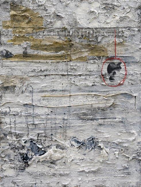 Gerard, pensamiento colgado de un hilo. De Carlos Sebastiá. Técnica mixta sobre arpillera. 60x80 cm. 2014. Imágen cortesía del Instituto Cervantes, Pekín.