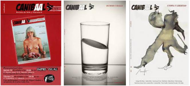 Imagen de los tres primeros números de la revista Canibaal.