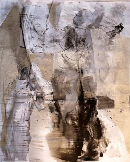 Iaia, perdida en alguna parte. De Carlos Sebastiá. técnica mixta sobre arpillera. 130x160 cm. 2042
