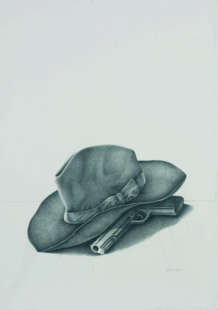 Obra de Vicente Cortina en la exposición Sobre papel en el Museo de la Universidad de Alicante (MUA). Cortesía de Colección Tomás Ruiz.