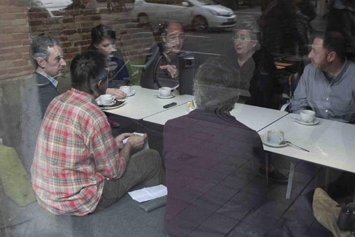 Vicente Chambó, Salva Torres, José Luis Pérez Pont, Inma Femenía, Chema Lopez, Carmen Calvo y Antonio Alcaraz. Desayunos Makma en Lotelito. Foto: Fernando Ruiz.