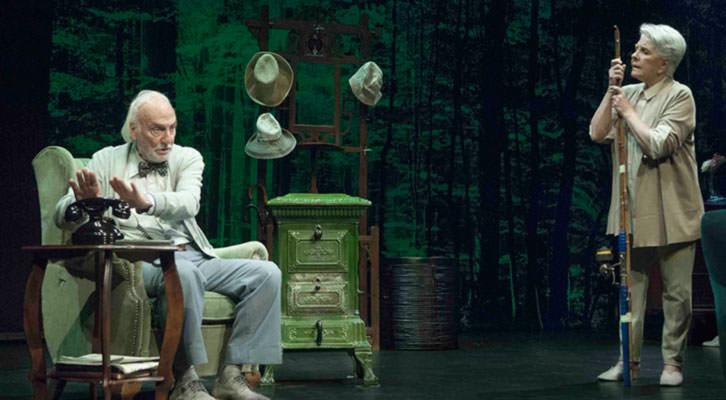 Héctor Alterio y Lola Herrera en una escena de 'En el estanque dorado', de Magüi Mira. Cortesía de Teatres de la Generalitat.