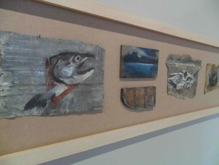 Obras de Ewa Okolowicz en 'Room Art, 2015. Migraciones visuales'. Sala Acadèmia de La Nau de la Universitat de València.