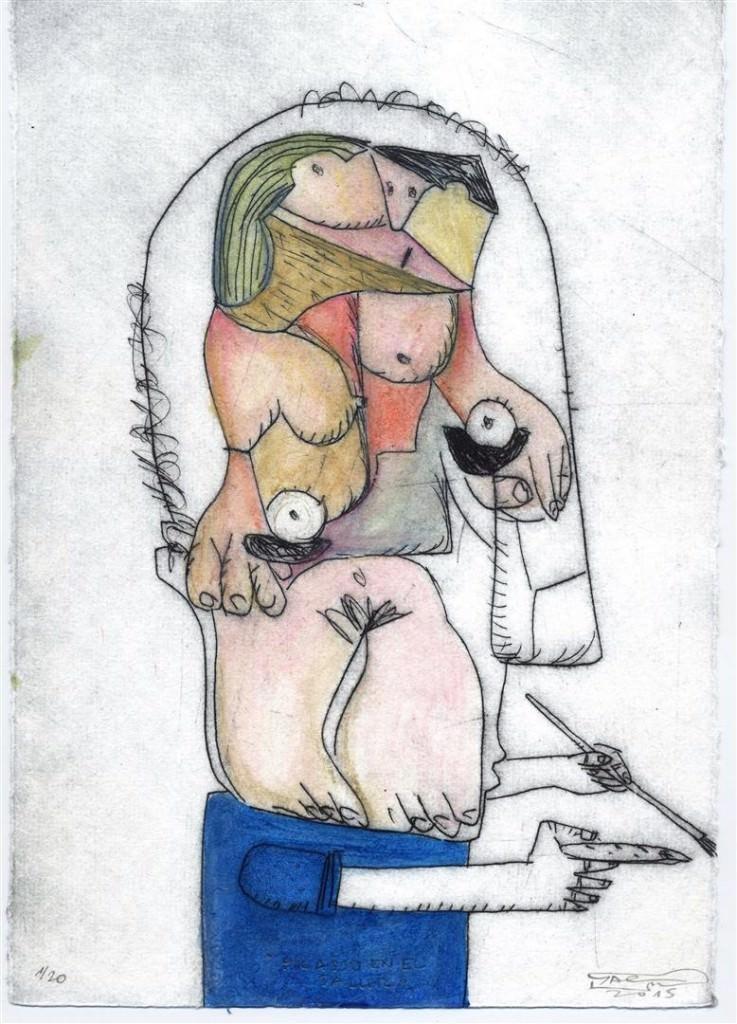 Picasso en el taller, de Moisés Yagües, en el Centro Internacional de la Estampa Contemporánea de Betanzos (A Coruña). Cortesía del autor.