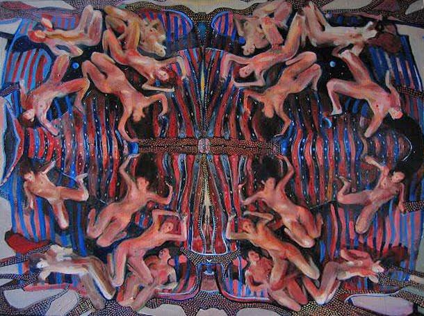 Obra de Eduardo Romaguera en la exposición 'A los postres un cadáver y otras nimiedades'. Aula de Cultura La Llotgeta.
