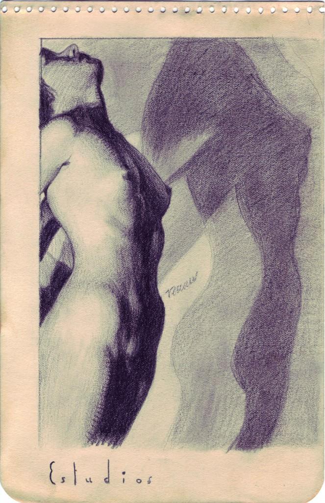 Obra de Josep Renau en la exposición Sobre papel en el Museo de la Universidad de Alicante. Cortesía de la Colección Tomás Ruiz.