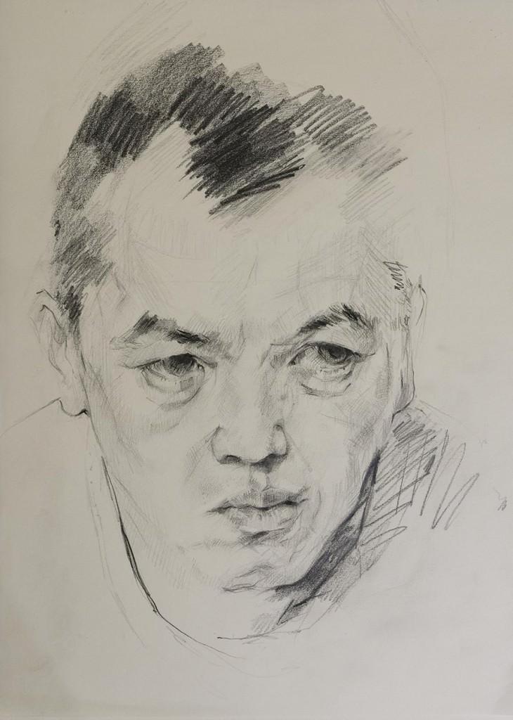 Dibujo de Carlos Sebastiá en la exposición 'Rostros' del OCCC. Cortesía de Instituto Confucio de la Universitat de València.