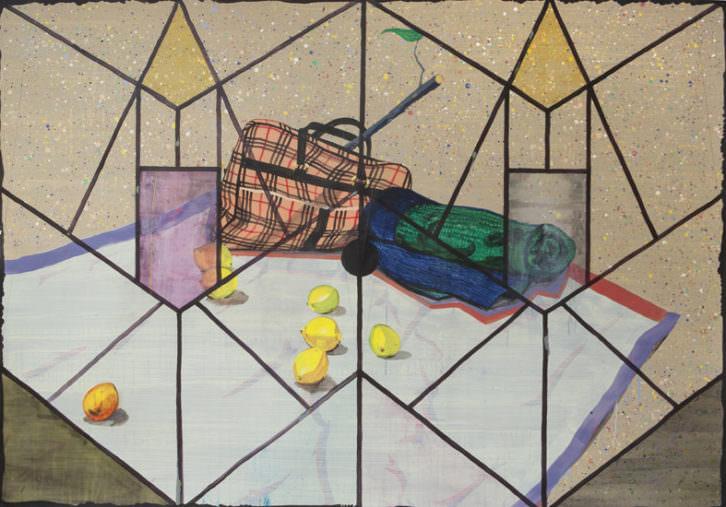 Bodegón de Miki Leal en la exposición 'Balada heavy'. Cortesía de Galería Luis Adelantado.