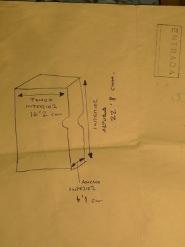 Dibujo para realizar la caja. Imagen, Vicente Chambó.