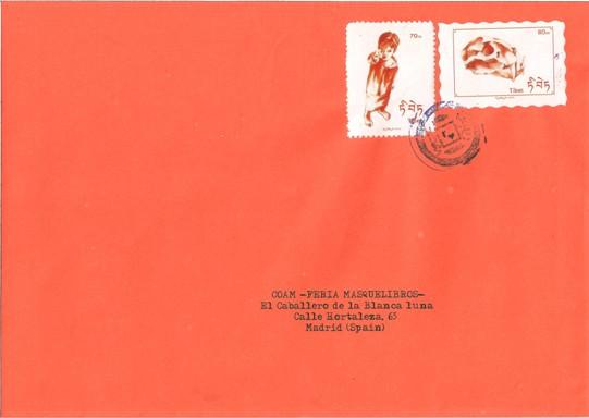 Dos ejemplos de sellos de fantasía franqueados. Diseñados a partir de dibujos originales de Carlos Domingo. Imagen, Vicente Chambó.
