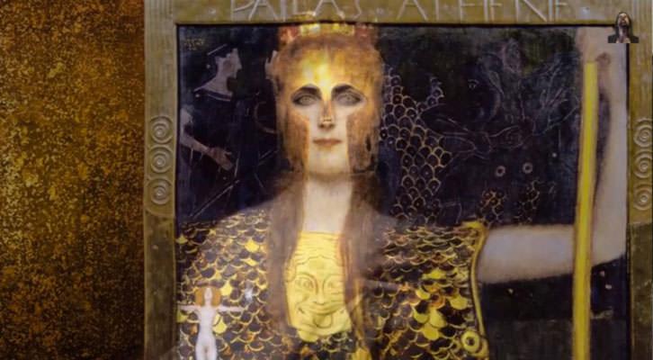 Palas Atenea, de Gustave Klimt, extraído del video 'The Metamorphosis of the Goddess', de Miguel Lázaro Bernuy para el congreso 'Las Diosas' de Trama y Fondo.