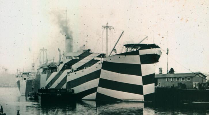 Ejemplo de buque intervenido mediante pintura dazzle.
