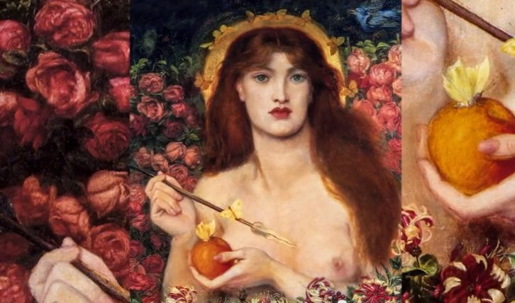 Venus Verticordia, de Rossetti, extraído del video 'The Metamorphosis of the Goddess, de Miguel Lázaro Bernuy para el congreso Las Diosas de Trama y Fondo.