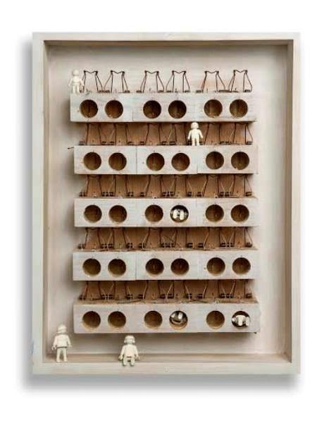 Atrapados por la crisis. Técnica mixta sobre madera (50 x 70 cm).