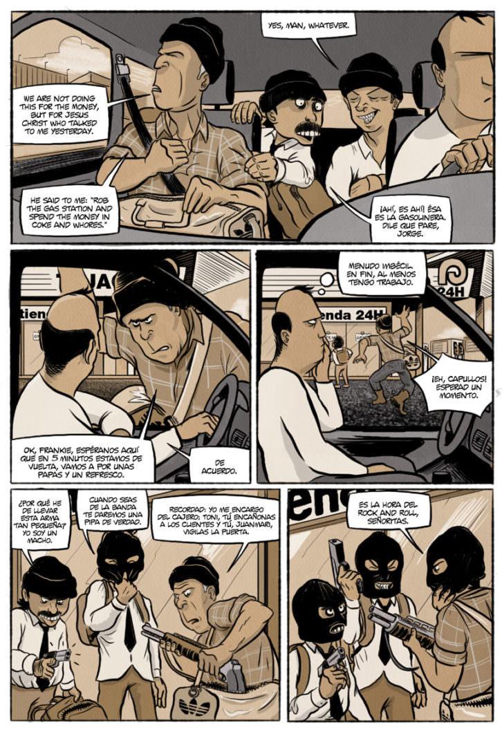 Viñeta del cómic 'Chorizos. Atraco a la española', de Ricardo Vilbor y Ricar González. Editorial Grafito.