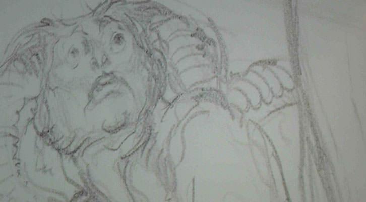 Boceto de 'El laberinto de los faunos', inspirado en José Segrelles, mostrado en la exposición del MuVIM.
