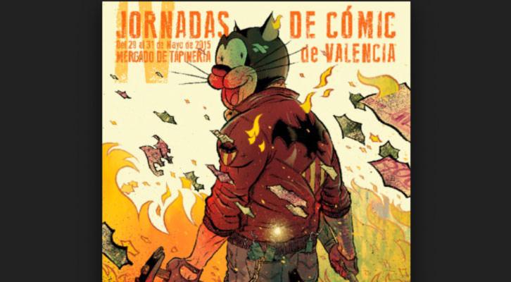 Detalle del cartel de las IV Jornadas de Cómic de Valencia.
