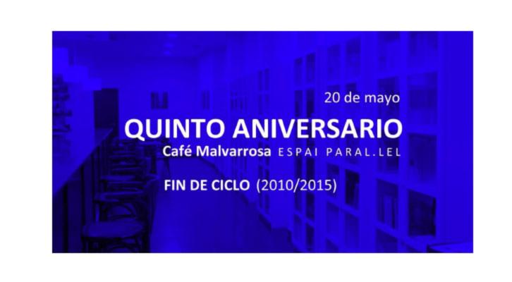 Tarjeta del Quinto Aniversario de Café Malvarrosa.