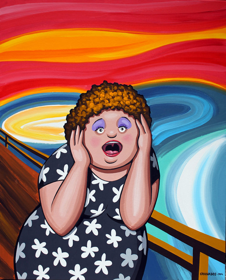 'No me grites', de Javier Granados, en referencia a 'El grito' de Edvard Munch, en la exposición 'Otra historia'. Imagen cortesía de Alba Cabrera.