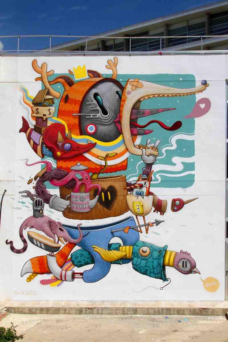 Graffiti de Dulk en el Poliniza de 2014. Imagen cortesía de la UPV.