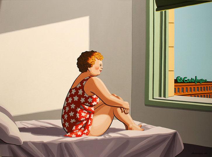 'Ya es primavera', de Javier Granados, en referencia a Edward Hopper. Imagen cortesía de la galería Alba Cabrera.