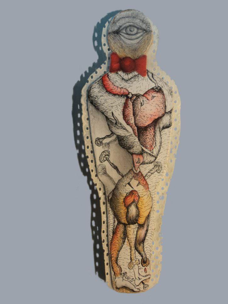 Figura de Arístides Rosell en Pinceladas colectivas. Cortesía de Imprevisual Galería.