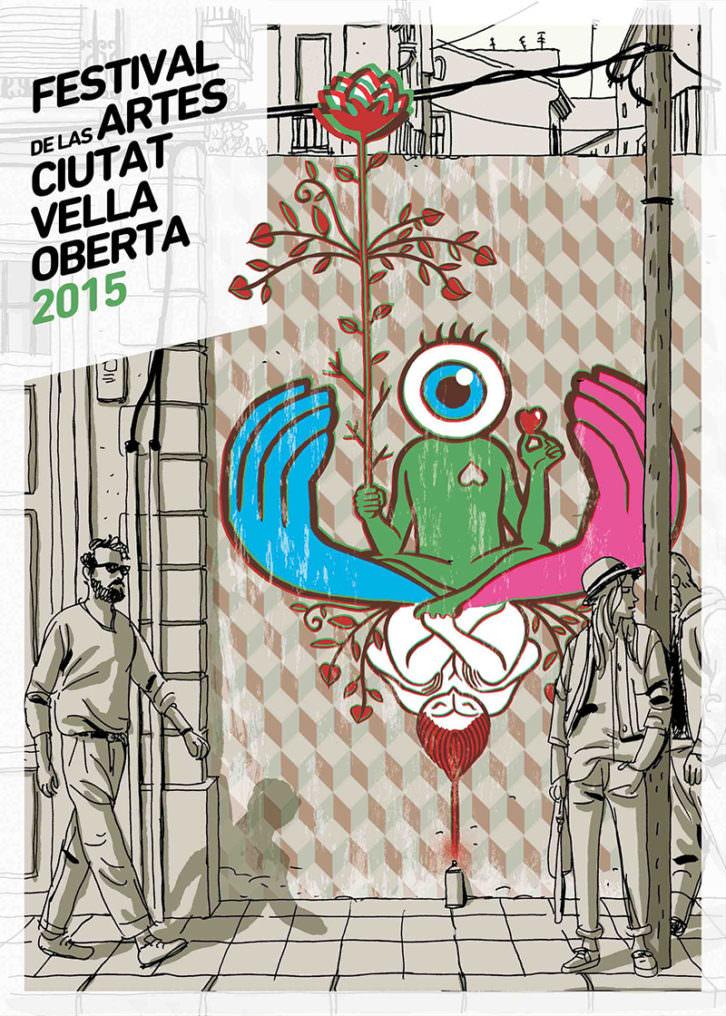 Cartel de Paco Roca para el Festival de las Artes Ciutat Vella Oberta. Cortesía de la organización.