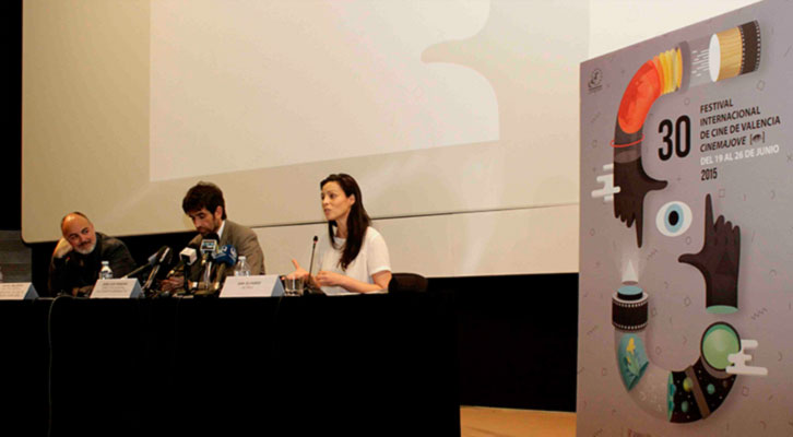 De izquierda a derecha, Rafael Maluenda, José Luis Moreno y Ana Álvarez, en la presentación del 30 Festival Internacional de Cine de Valencia Cinema Jove.