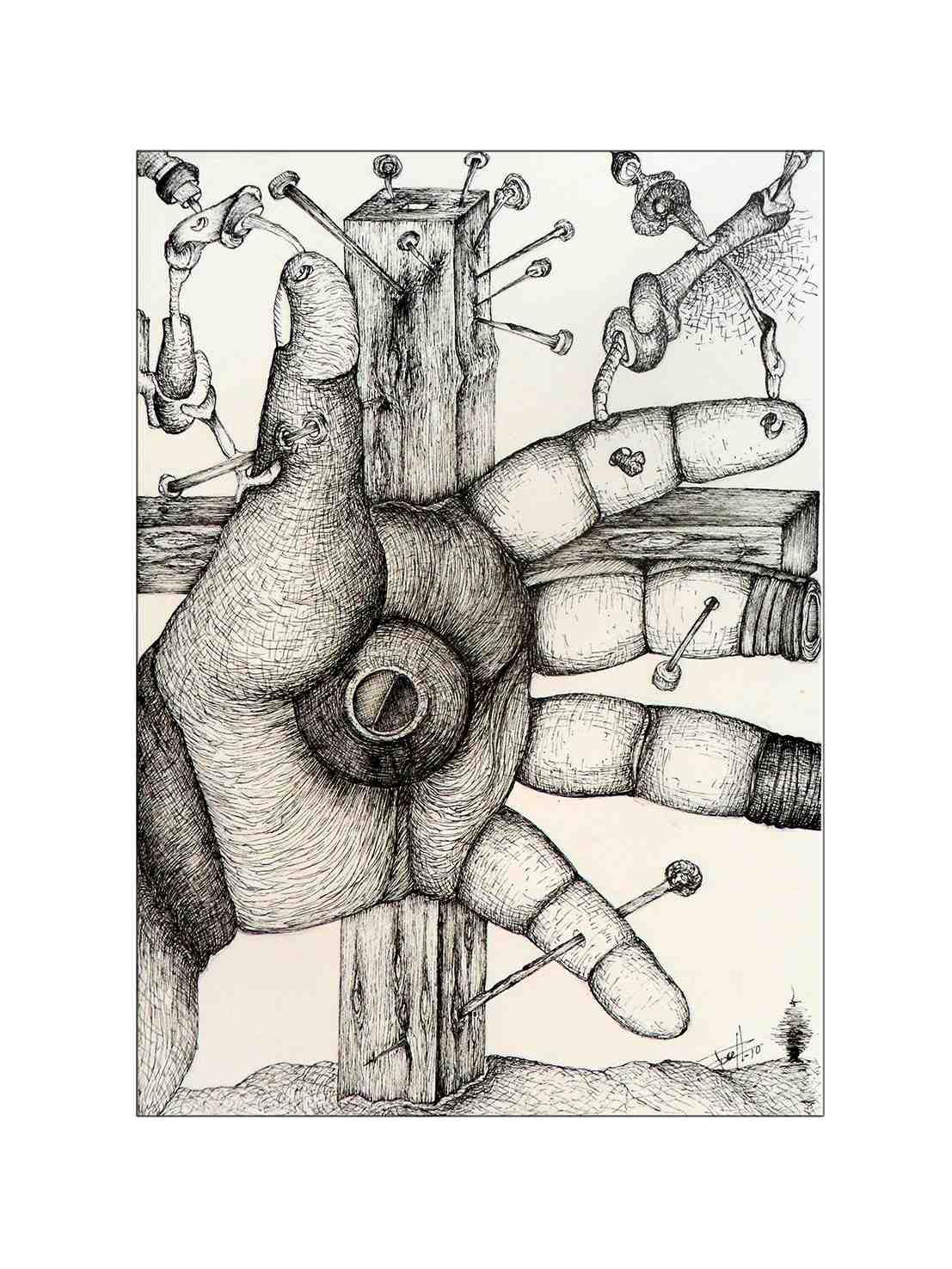 Dibujo de Arístides Rosell en 'Esquizografías'. Sporting Club Russafa. Imagen cortesía del autor.