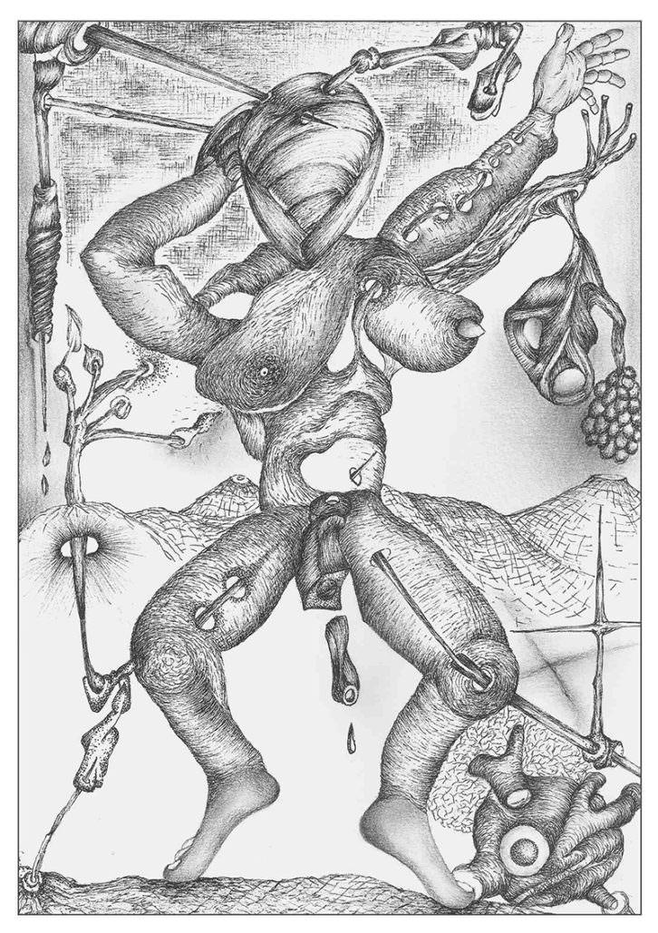 Dibujo de Arístides Rosell en la exposición 'Esquizografías' en Sporting Club Russafa. Imagen cortesía del autor.