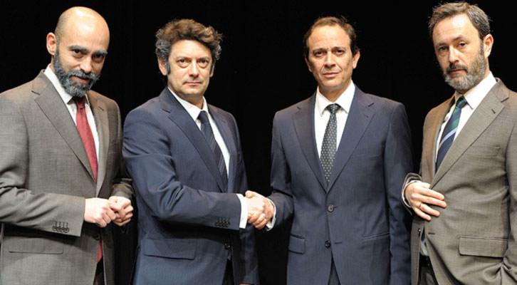 Chani Martín, Manuel Solo, Luis Callejo y César Tormo en 'Las guerras correctas', de Gabriel Ochoa. Imagen cortesía de La Rambleta.
