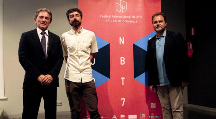 De izquierda a derecha, Alberto Maestre, Javier Marisco y Francisco Molina, en la presentación de Incubarte en el MuVIM. Imagen cortesía de la organización.