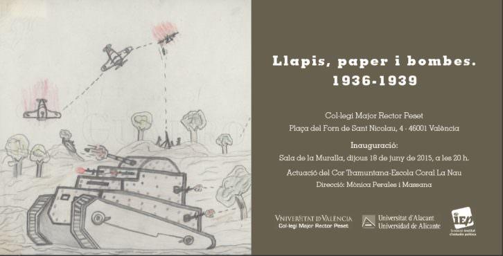 Tarjeta de la exposición Llapis, paper i bombea. 1936-1039. Cortesía de Colegio Mayor Rector Peset.