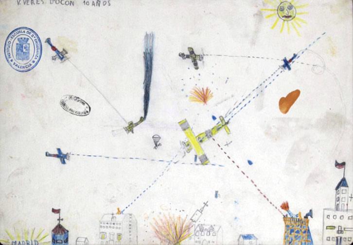 Uno de los dibujos de la exposición Llapis, paper i bombea. 1936-1939. Cortesía de Colegio Mayor Rector Peset.
